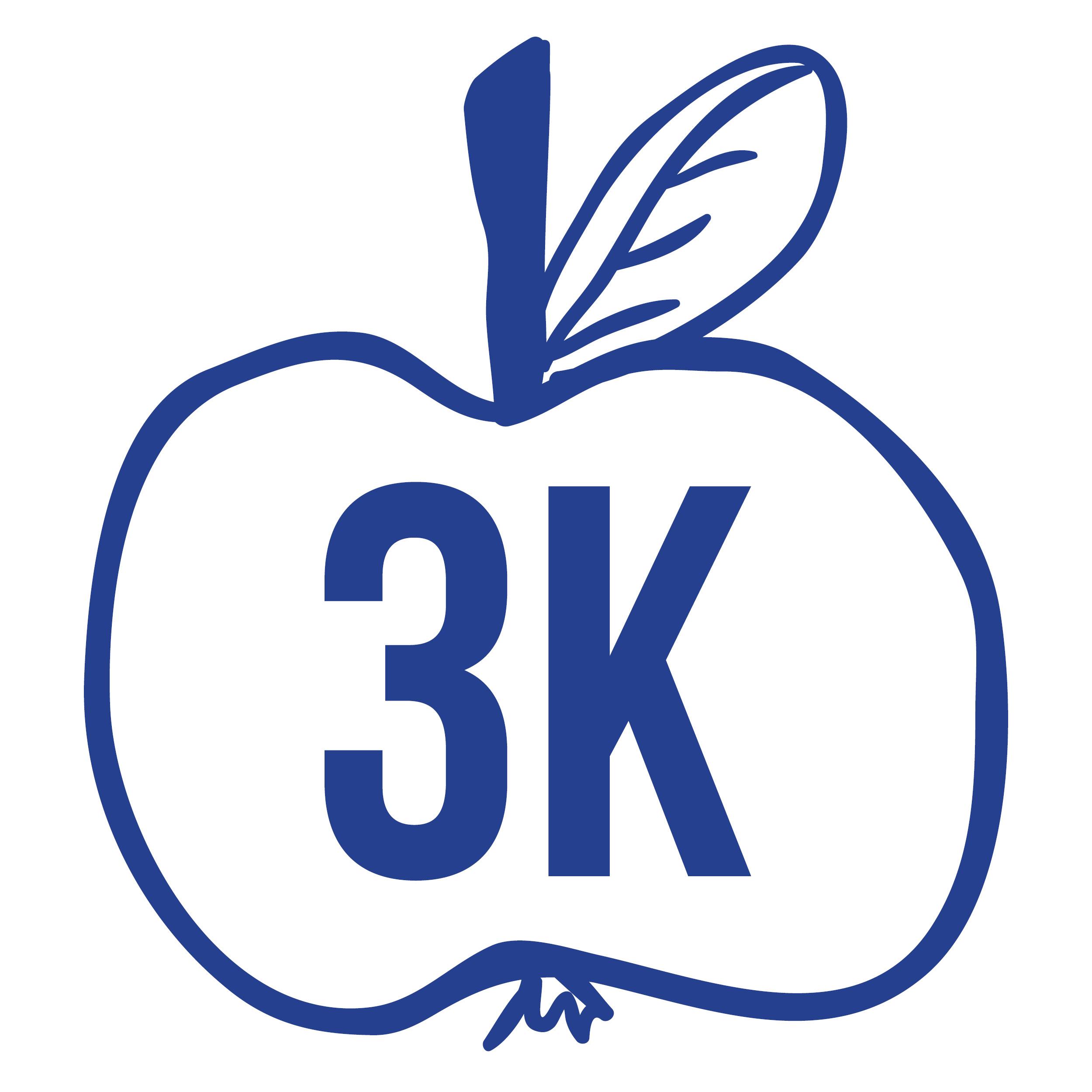 Kuvassa 3K-hankkeen logo, jossa lukee 3K piirretyn omenan sisässä